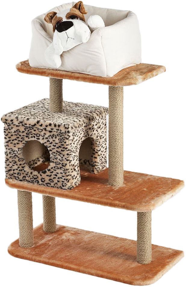 Игровой комплекс для животных Велес, 3-этажный, с домиком и лежаком на площадке, цвет: коричневый, леопардовый, 70 х 36 х 60 см22Игровой комплекс для кошек Велес выполнен из высококачественного ДСП и обтянут искусственным мехом. Комплекс имеет 3 яруса, домик и лежак. Ваш домашний питомец будет с удовольствием точить когти о специальные столбики, изготовленные из джута. А отдохнуть он сможет либо на полках, либо домике или лежаке.Домики Велес украсят интерьер вашей квартиры, дадут вашему любимцу уютный и красивый дом, а вам - уверенность в сохранности мебели и интерьера.