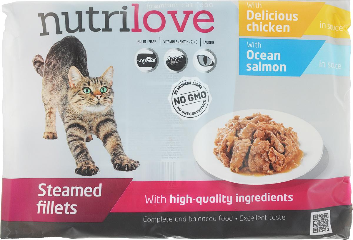 Корм консервированный Nutrilove для кошек, с лососем в соусе, с курицей в соусе, 85 г х 4 шт15489Консервированный корм Nutrilove - полноценное питание для взрослых кошек. Продукты Nutrilove являются инновационными в своем сегменте. Корма изготовлены по самым передовыми технологиями, в том числе, с использованием свежего мяса в качестве одного из основных ингредиентов. Они характеризуются высоким содержанием белка животного происхождения с идеально сбалансированным содержанием жиров, минеральных веществ и витаминов.Товар сертифицирован.