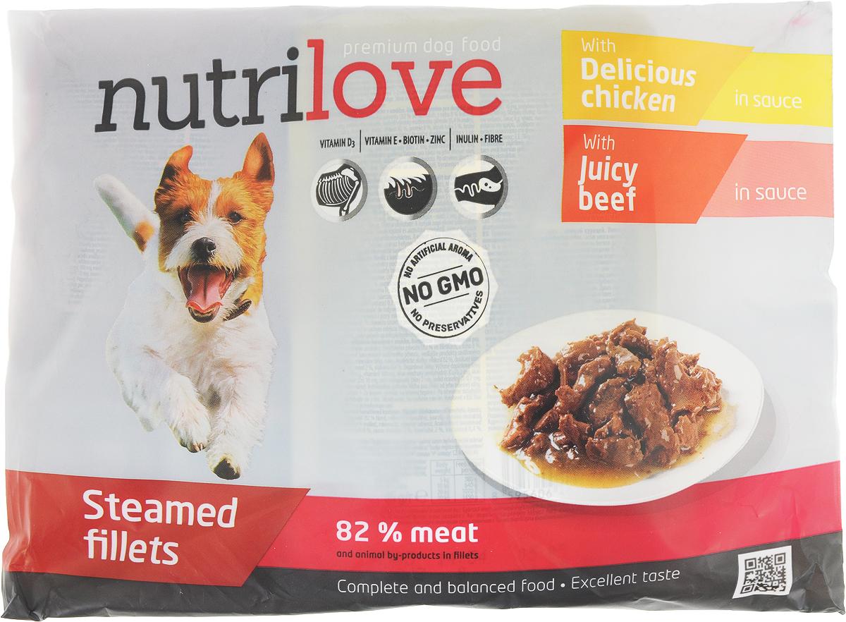 Корм консервированный Nutrilove для собак, с говядиной в соусе, с курицей в соусе, 85 г х 4 шт15517Консервированный корм Nutrilove - полноценное питание для взрослых собак. Продукты Nutrilove являются инновационными в своем сегменте. Корма изготовлены по самым передовыми технологиями, в том числе, с использованием свежего мяса в качестве одного из основных ингредиентов. Они характеризуются высоким содержанием белка животного происхождения с идеально сбалансированным содержанием жиров, минеральных веществ и витаминов.Товар сертифицирован.