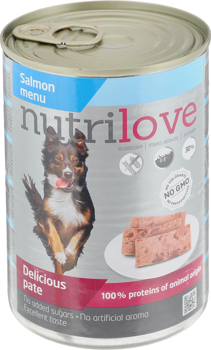 Корм консервированный Nutrilove для собак, паштет с лососем, 400 г15508Консервированный корм Nutrilove - полноценное питание для взрослых собак. Продукты Nutrilove являются инновационными в своем сегменте. Корма изготовлены по самым передовыми технологиями, в том числе, с использованием свежего мяса в качестве одного из основных ингредиентов. Они характеризуются высоким содержанием белка животного происхождения с идеально сбалансированным содержанием жиров, минеральных веществ и витаминов.Товар сертифицирован.