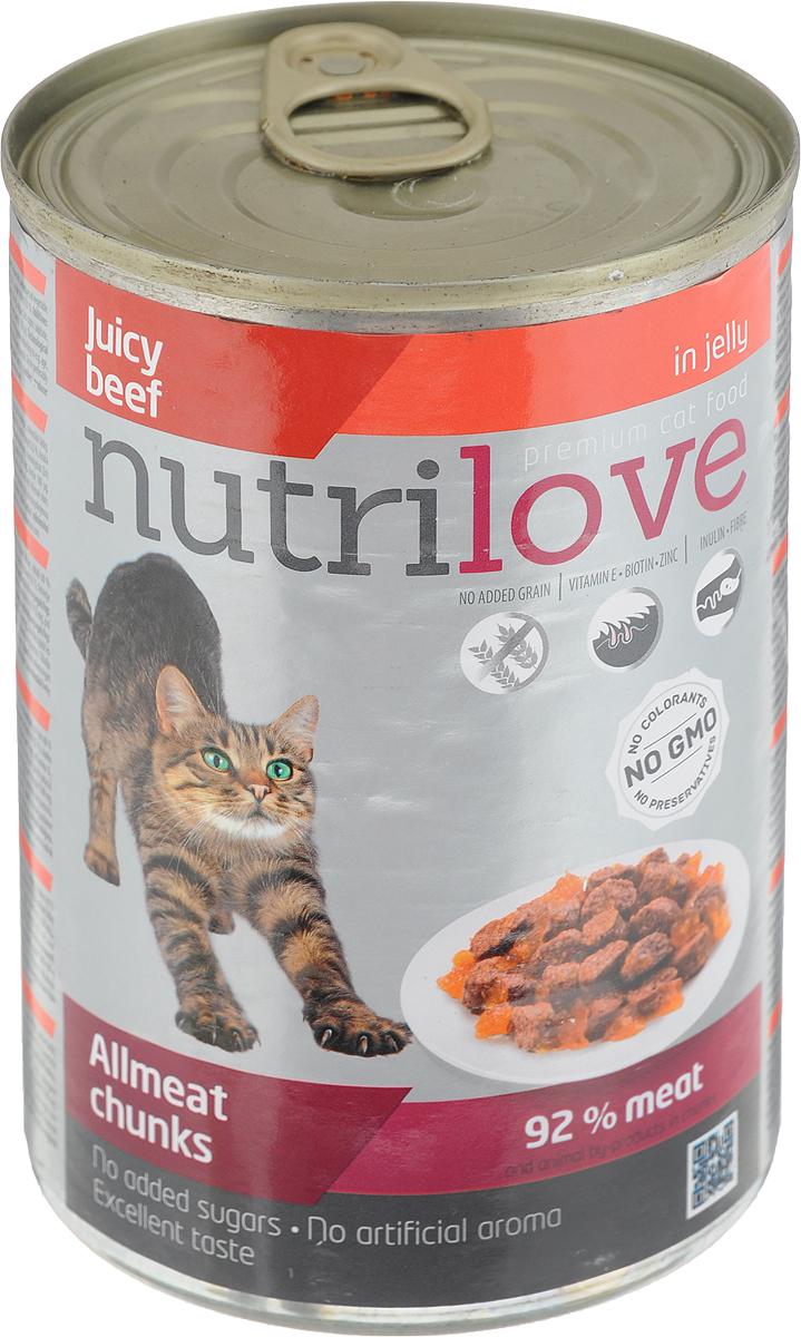 Корм консервированный Nutrilove для кошек, с говядиной в желе, 400 г корм консервированный мурчелло для кошек говядина по бургундски в желе с томатами 100 г