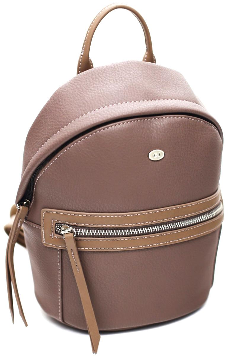 Рюкзак женский David Jones, цвет: розовый. СМ3520 D/PINKСМ3520 D/PINKРюкзак имеет одно отделение, внутри два кармана (один на молнии), внешний карман на передней стенке (на молнии). Высота ручки 9 см. Лямки рюкзака регулируются по длине.