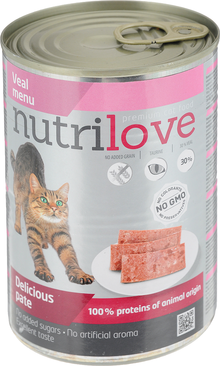 Корм консервированный Nutrilove для кошек, паштет с телятиной, 400 г15490Консервированный корм Nutrilove - полноценное питание для взрослых кошек. Продукты Nutrilove являются инновационными в своем сегменте. Корма изготовлены по самым передовыми технологиями, в том числе, с использованием свежего мяса в качестве одного из основных ингредиентов. Они характеризуются высоким содержанием белка животного происхождения с идеально сбалансированным содержанием жиров, минеральных веществ и витаминов.Товар сертифицирован.