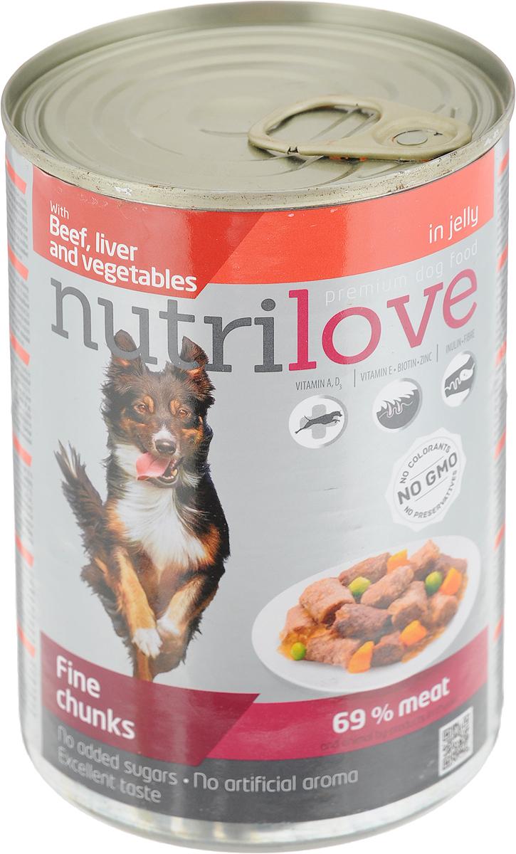 Корм консервированный Nutrilove для собак, с говядиной, печенью и овощами в желе, 415 г15513Консервированный корм Nutrilove - полноценное питание для взрослых собак. Продукты Nutrilove являются инновационными в своем сегменте. Корма изготовлены по самым передовыми технологиями, в том числе, с использованием свежего мяса в качестве одного из основных ингредиентов. Они характеризуются высоким содержанием белка животного происхождения с идеально сбалансированным содержанием жиров, минеральных веществ и витаминов.Товар сертифицирован.