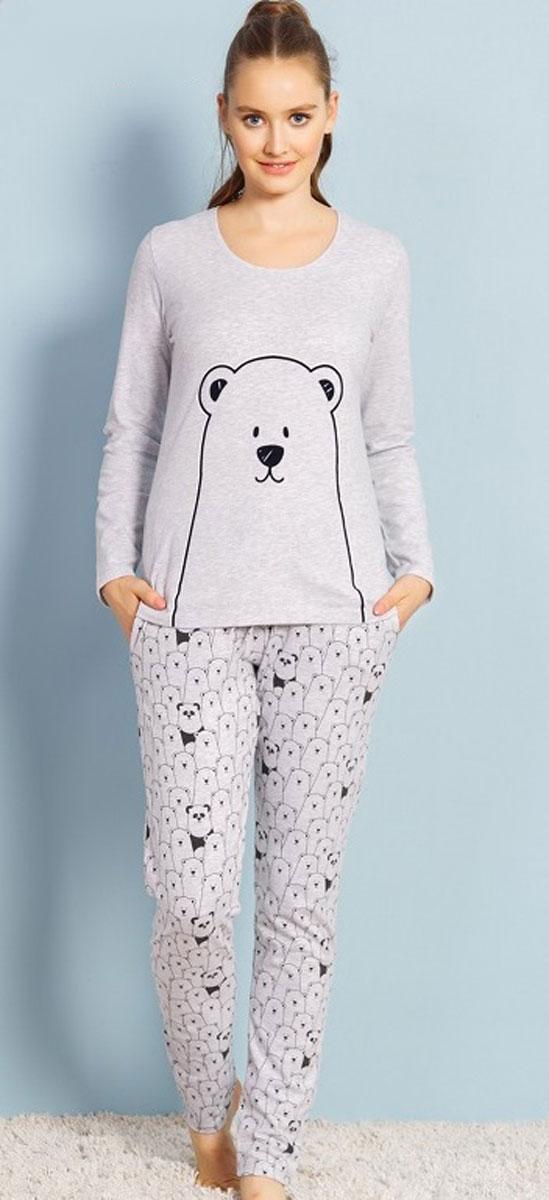 Комплект домашний женский Vienettas Secret Белый медведь, цвет: серый меланж. 706108 1703. Размер XL (50)706108 1703