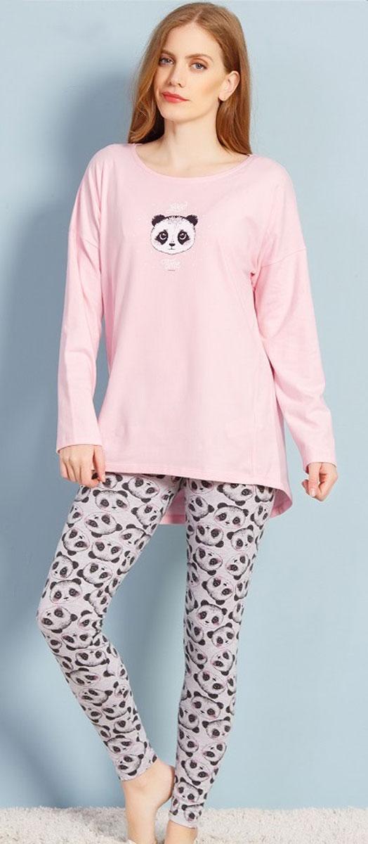 Комплект домашний женский Vienetta's Secret Панда, цвет: розовый. 706113 1128. Размер XL (50) туника class cavalli туники свободного кроя