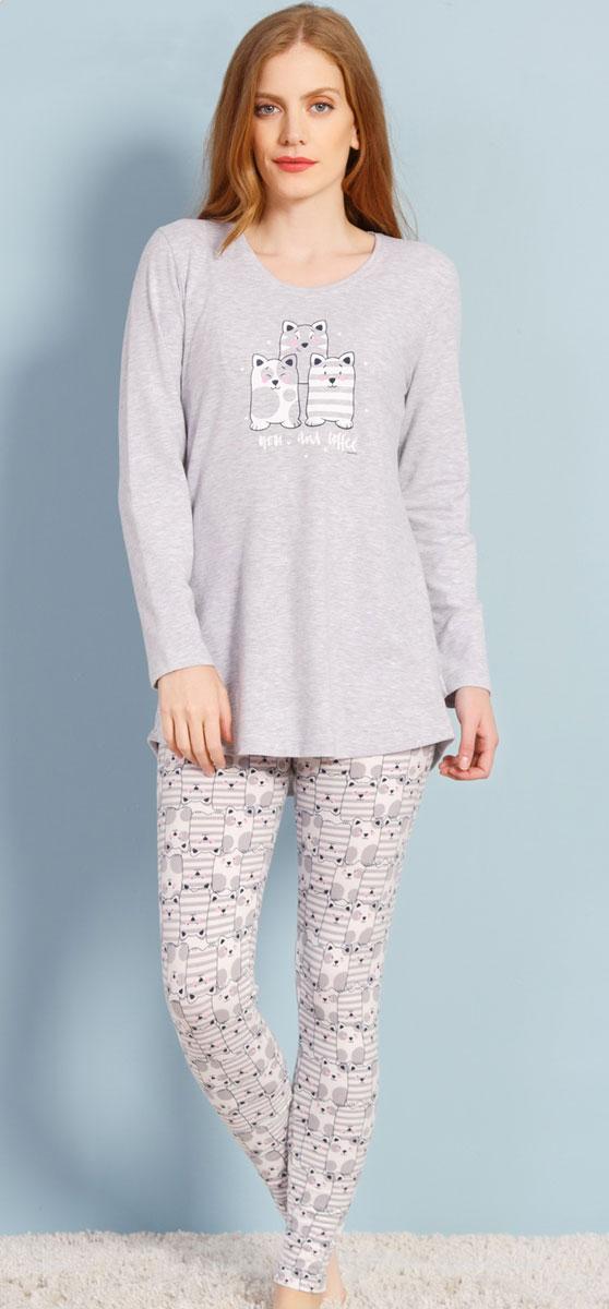 Комплект домашний женский Vienetta's Secret Коты, цвет: серый меланж. 706125 3039. Размер XL (50)