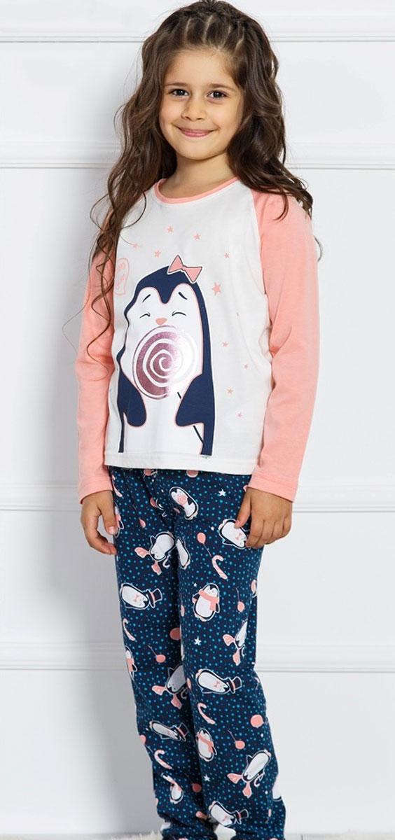 Комплект домашний для девочек Vienetta's Secret Пингвин с леденцом, цвет: розовый, синий. 708131 3126. Размер 134/146