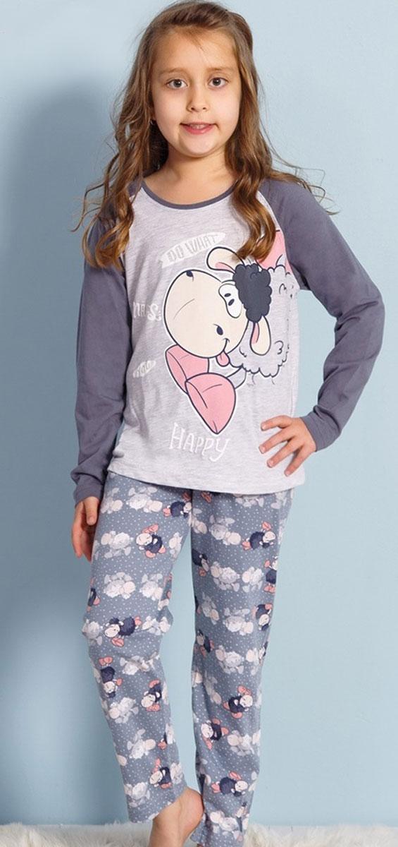 Комплект домашний для девочек Vienetta's Secret Веселая овечка: футболка с длинным рукавом, брюки, цвет: серый меланж. 708135 3124. Размер 134/146