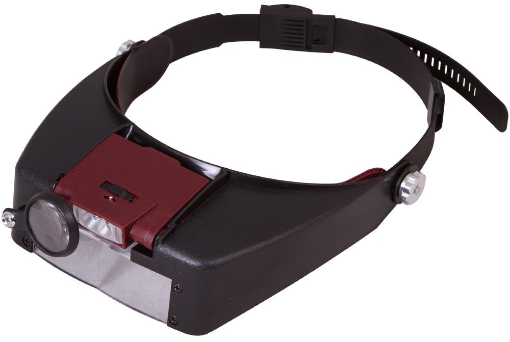 Levenhuk Zeno Vizor H2 лупа налобная69669Налобная лупа Levenhuk Zeno Vizor H2 оставит ваши руки свободными и поможет в любой работе с мелкими предметами. Лупа имеет встроенную светодиодную подсветку, оснащена дополнительными линзами разной кратности и надежно фиксируется на голове при помощи гибкого крепления. Диапазон увеличений составляет от 1,5х до 8х.Levenhuk Zeno Vizor H2 можно зафиксировать на голове при помощи специального ремня с регулировкой длины. Для освещения рабочей области используется светодиодная подсветка. Вы можете включать и выключать ее при помощи рычажка на корпусе.Для работы вы можете выбрать одно из фиксированных увеличений. Кратность лупы можно изменить, опустив дополнительную линзу или переместив поворотную линзу для правого глаза. Все оптические элементы изготовлены из специального оптического пластика и передают четкую картинку по всему полю зрения.Диаметр линзы: 87x30 мм (2 шт.) Диаметр дополнительной линзы: 28 мм Материал оптики: оптический пластик
