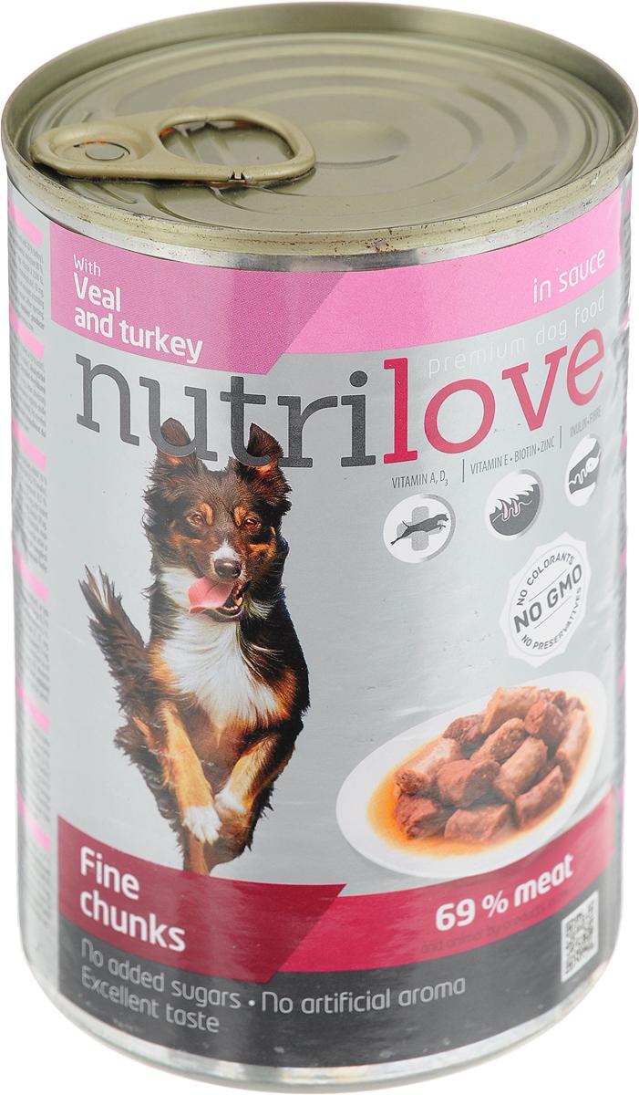 Корм консервированный Nutrilove для собак, с телятиной, индейкой в соусе, 415 г15512Консервированный корм Nutrilove - полноценное питание для взрослых собак. Продукты Nutrilove являются инновационными в своем сегменте. Корма изготовлены по самым передовыми технологиями, в том числе, с использованием свежего мяса в качестве одного из основных ингредиентов. Они характеризуются высоким содержанием белка животного происхождения с идеально сбалансированным содержанием жиров, минеральных веществ и витаминов.Товар сертифицирован.