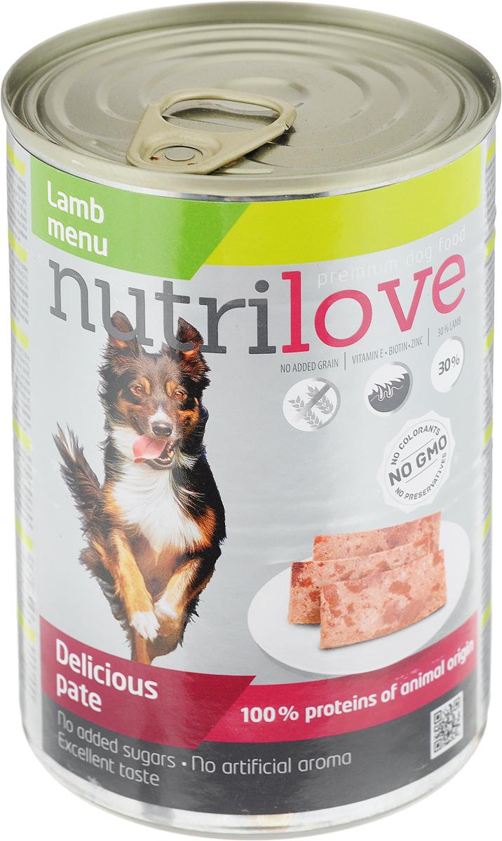 Корм консервированный Nutrilove для собак, паштет с ягненком, 400 г15507Консервированный корм Nutrilove - полноценное питание для взрослых собак. Продукты Nutrilove являются инновационными в своем сегменте. Корма изготовлены по самым передовыми технологиями, в том числе, с использованием свежего мяса в качестве одного из основных ингредиентов. Они характеризуются высоким содержанием белка животного происхождения с идеально сбалансированным содержанием жиров, минеральных веществ и витаминов.Товар сертифицирован.
