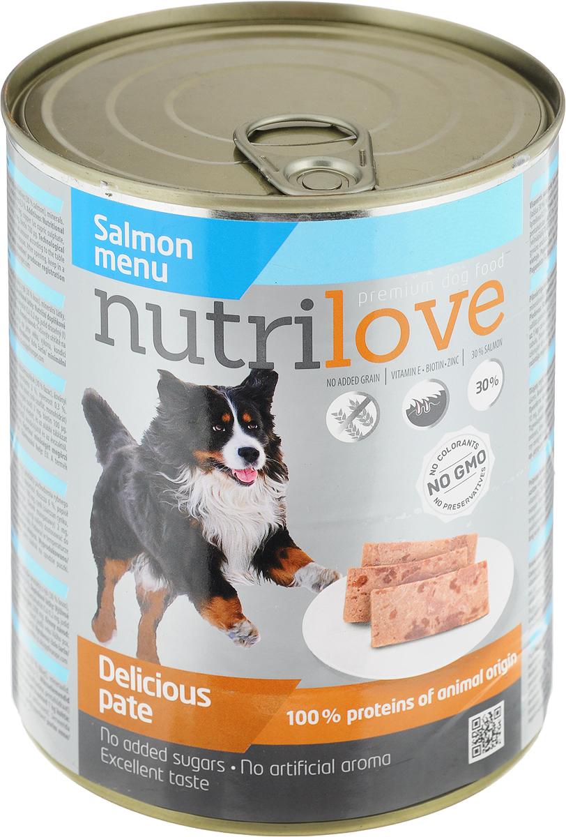 Корм консервированный Nutrilove для собак, паштет с лососем, 800 г15510Консервированный корм Nutrilove - полноценное питание для взрослых собак. Продукты Nutrilove являются инновационными в своем сегменте. Корма изготовлены по самым передовыми технологиями, в том числе, с использованием свежего мяса в качестве одного из основных ингредиентов. Они характеризуются высоким содержанием белка животного происхождения с идеально сбалансированным содержанием жиров, минеральных веществ и витаминов.Товар сертифицирован.