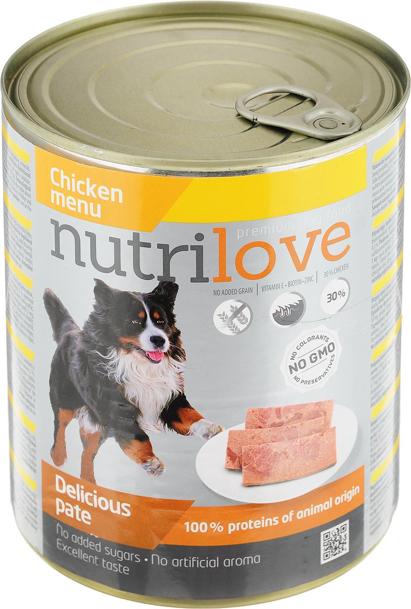 Корм консервированный Nutrilove для собак, паштет с курицей, 800 г15509Консервированный корм Nutrilove - полноценное питание для взрослых собак. Продукты Nutrilove являются инновационными в своем сегменте. Корма изготовлены по самым передовыми технологиями, в том числе, с использованием свежего мяса в качестве одного из основных ингредиентов. Они характеризуются высоким содержанием белка животного происхождения с идеально сбалансированным содержанием жиров, минеральных веществ и витаминов.Товар сертифицирован.
