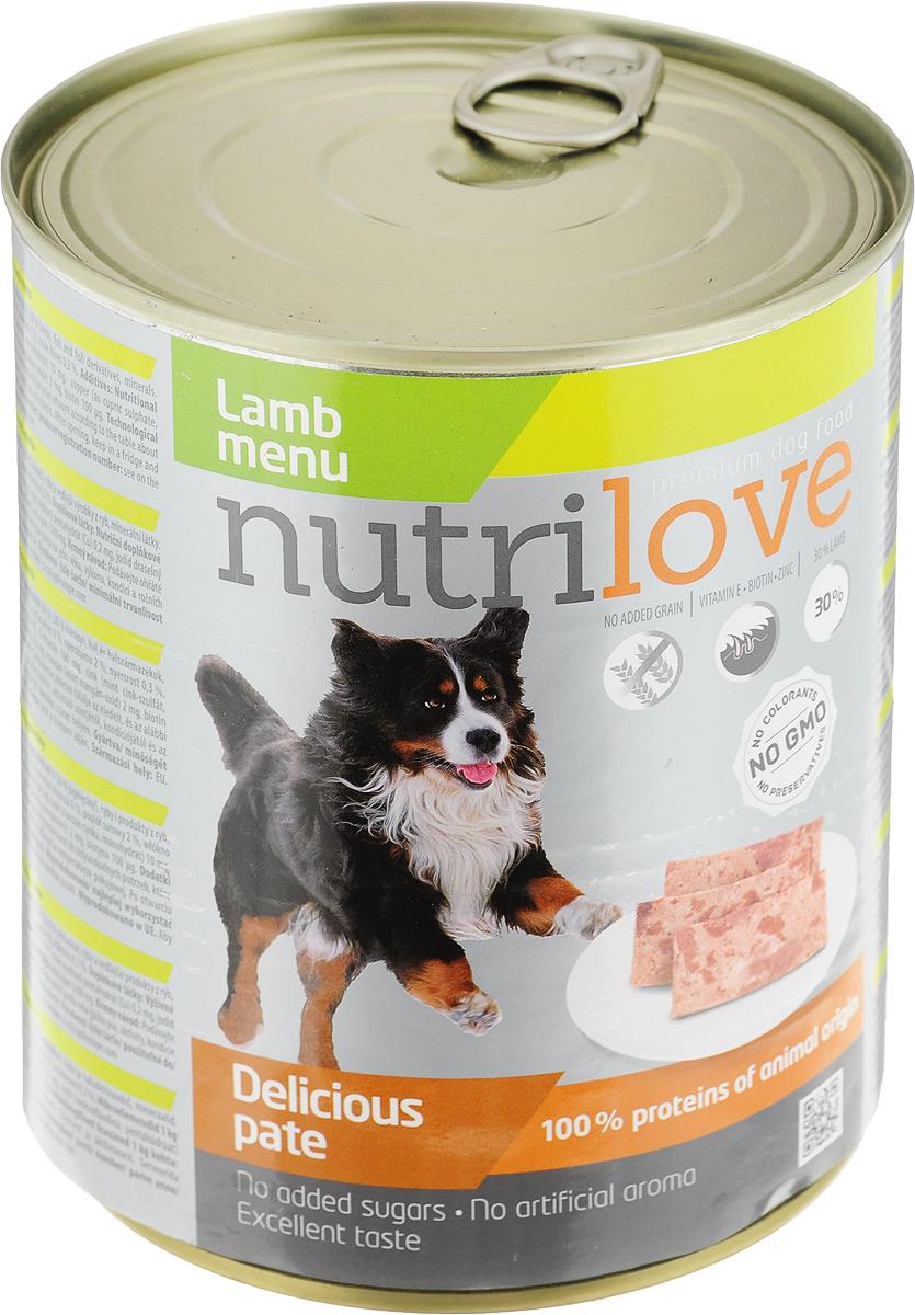 Корм консервированный Nutrilove для собак, паштет с ягненком, 800 г