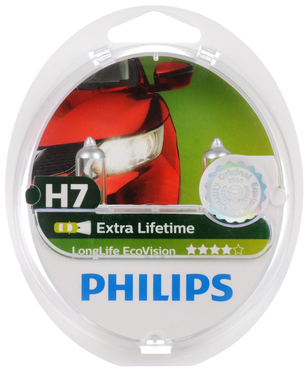 Галогенная автомобильная лампа Philips LongLife EcoVision H7 12V-55W увелич. срок службы 2шт. 12972LLECOS212972LLECOS2LongLife EcoVision - срок службы, увеличенный в 4 раза. Все новые лампы LongLife EcoVision предоставляют водителям. Небывалое преимущество: срок службы, увеличенный в 4 раза, по сравнению со стандартными лампами. Одной пары ламп LongLife EcoVision достаточно, чтобы проехать около 100 000 км. Такой невероятный срок службы позволить вам сэкономить средства, так как вам не придется заменять лапы в течение долгих лет! Но это не только возможность сэкономить! Кроме того, внесете свой вклад в защиту планеты, так как уменьшите неблагоприятное воздействие на окружающую среду благодаря сниженным затратам на транспортировку, сокращению выбросов CO2 и использования упаковочного материала.Напряжение: 12 вольт