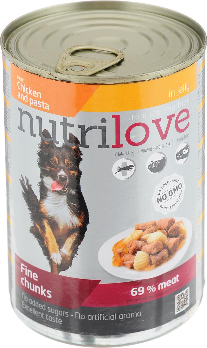 Корм консервированный Nutrilove для собак, с курицей и пастой в желе, 415 г15514Консервированный корм Nutrilove - полноценное питание для взрослых собак. Продукты Nutrilove являются инновационными в своем сегменте. Корма изготовлены по самым передовыми технологиями, в том числе, с использованием свежего мяса в качестве одного из основных ингредиентов. Они характеризуются высоким содержанием белка животного происхождения с идеально сбалансированным содержанием жиров, минеральных веществ и витаминов.Товар сертифицирован.