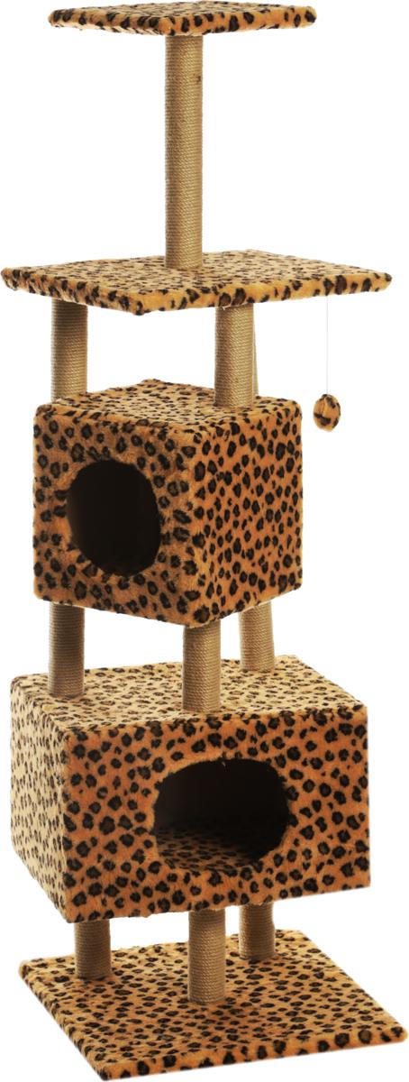 Домик-когтеточка  Меридиан , квадратный, с площадкой и полкой, цвет: леопардовый, 52 х 52 х 166 см - Когтеточки и игровые комплексы