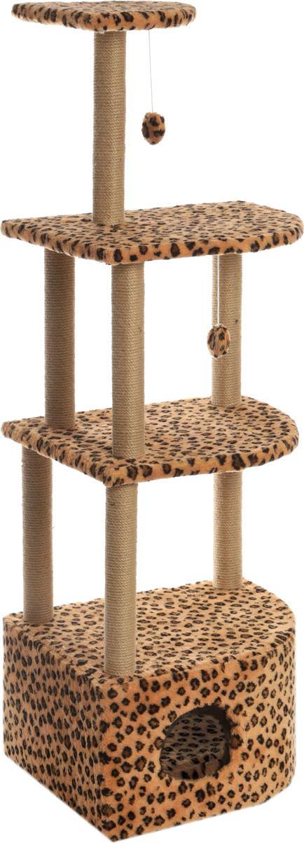 Домик-когтеточка Меридиан, угловой, четырехъярусный, цвет: леопардовый, 58 х 48 х 157 смД432ЛеДомик-когтеточка Меридиан выполнен из высококачественного ДВП и ДСП и обтянут искусственным мехом. Изделие предназначено для кошек. Комплекс имеет 4 яруса. Ваш домашний питомец будет с удовольствием точить когти о специальные столбики, изготовленные из джута. А отдохнуть он сможет либо на полках, либо в расположенном внизу домике. Изделие снабжено 2 подвесными игрушками. Домик-когтеточка Меридиан принесет пользу не только вашему питомцу, но и вам, так как он сохранит мебель от когтей и шерсти.Общая высота: 157 см.Основание:Длина: 58 см.Ширина: 48 см.Домик:Длина: 58 см.Ширина: 48 см.Высота: 31,5 см.