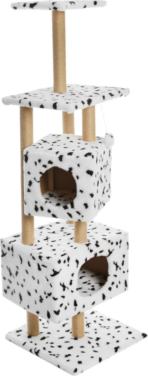 Домик-когтеточка Меридиан  Далматин , квадратный, с площадкой и полкой, 52 х 52 х 166 см - Когтеточки и игровые комплексы