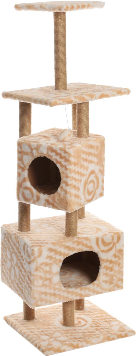 Домик-когтеточка Меридиан Цветы, квадратный, с площадкой и полкой, 52 х 52 х 166 см