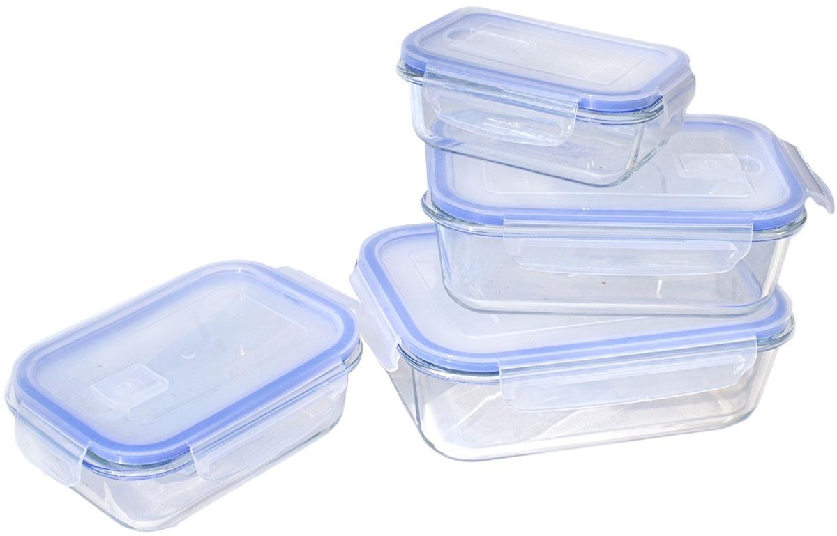 Набор контейнеров пищевых Eley, цвет: синий, 4 штELSТP001BНабор прямоугольных пищевых контейнеров Eley выполнен из жаропрочного боросиликатного стекла.Особенности: Контейнеры подходят для использования в микроволновой печи и духовке (без крышки);Подходят для использования в холодильнике и морозильной камере;Подходят для использования в посудомоечной машине; Можно использовать как формы для запекания (до +400 С).Крышки Air Lock изготовлены из полипропилена и оснащены силиконовым уплотнителем, для обеспечения полной герметичности внутриконтейнеров.В крышки встроены вентиляционные клапаны для удобства использования в холодильных и морозильных камерах. Объем контейнеров: 370, 630, 1040, 1500 мл.
