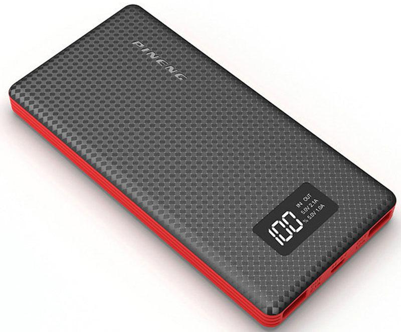 Pineng PN-963, Black внешний аккумулятор (10000 мАч)PN-963BKPineng PN-963 идеален для ежедневного использования, краткосрочных поездок и путешествий. Упакован в прочный, но легкий корпус из ударопрочного пластика в новом дизайне. Размер устройства сопоставим с размером телефона, поэтому его удобно держать в кармане.Поверхность корпуса портативного аккумулятора Pineng выполнена в виде пиксельного узора разной степени гладкости, что придает внешнему аккумулятору легкое ощущение прохлады в руке и позволяет прочно его удерживать - очередное приятное ноу-хау от производителя.Pineng имеет 2 отдельных USB выхода: 5В/1А для смартфонов и телефонов и 5В/2.1А для планшетов. Оба выхода работают одновременно. Для контроля остатка заряда предусмотрен фирменный запатентованный жидко-кристаллический дисплей (монохромный), отображающий остаток заряда в процентах.Pineng PN-963 на 100% совместим со всеми современными телефонами и планшетами (Apple, Samsung, HTC, Huawei, Nokia, LG, SONY, ACER, ASUS, Lenovo, Xiaomi, Meizu, Fly и многими другими), а также поддерживает все электронные устройства с питаем от 5 вольт: фото- и видеокамеры, GoPro, фитнес трекеры, портативные колонки, GPS навигаторы, радиопередатчики, аудио плееры и множество других.