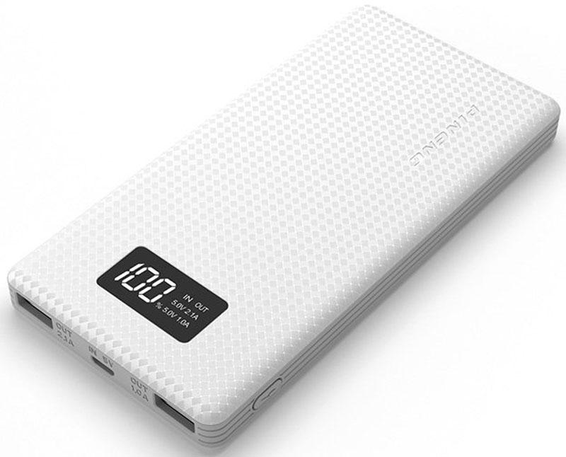 Pineng PN-963, White внешний аккумулятор (10000 мАч)PN-963WHPineng PN-963 идеален для ежедневного использования, краткосрочных поездок и путешествий. Упакован в прочный, но легкий корпус из ударопрочного пластика в новом дизайне. Размер устройства сопоставим с размером телефона, поэтому его удобно держать в кармане.Поверхность корпуса портативного аккумулятора Pineng выполнена в виде пиксельного узора разной степени гладкости, что придает внешнему аккумулятору легкое ощущение прохлады в руке и позволяет прочно его удерживать - очередное приятное ноу-хау от производителя.Pineng имеет 2 отдельных USB выхода: 5В/1А для смартфонов и телефонов и 5В/2.1А для планшетов. Оба выхода работают одновременно. Для контроля остатка заряда предусмотрен фирменный запатентованный жидко-кристаллический дисплей (монохромный), отображающий остаток заряда в процентах.Pineng PN-963 на 100% совместим со всеми современными телефонами и планшетами (Apple, Samsung, HTC, Huawei, Nokia, LG, SONY, ACER, ASUS, Lenovo, Xiaomi, Meizu, Fly и многими другими), а также поддерживает все электронные устройства с питаем от 5 вольт: фото- и видеокамеры, GoPro, фитнес трекеры, портативные колонки, GPS навигаторы, радиопередатчики, аудио плееры и множество других.