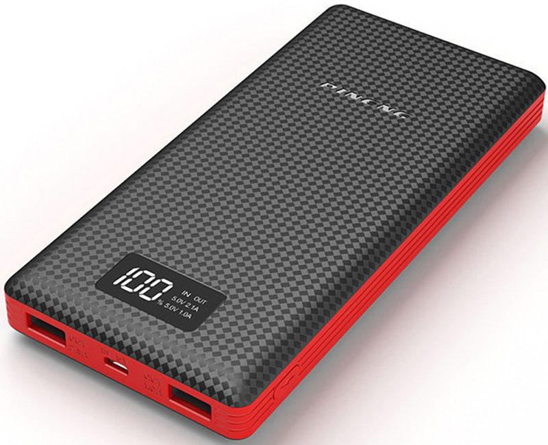 Pineng PN-969, Black внешний аккумулятор (20000 мАч)PN-969BKPineng PN-969 идеален для краткосрочных поездок и путешествий. Упакован в прочный, но легкий корпус из ударопрочного пластика в новом дизайне. Поверхность корпуса выполнена в виде пиксельного узора разной степени гладкости, что придает внешнему аккумулятору легкое ощущение прохлады в руке и позволяет прочно его удерживать - очередное приятное ноу-хау от производителя. Pineng имеет 2 отдельных USB выхода: 5В/1А - для смартфонов и телефонов и 5В/2.1А для планшетов. Оба выхода работают одновременно. Для контроля остатка заряда предусмотрен фирменный запатентованный жидко-кристаллический дисплей (монохромный), отображающий остаток заряда в процентах.Pineng PN-969 на 100% совместим со всеми современными телефонами и планшетами (Apple, Samsung, HTC, Huawei, Nokia, LG, SONY, ACER, ASUS, Lenovo, Xiaomi, Meizu, Fly и многими другими), а также поддерживает все электронные устройства с питаем от 5 вольт: фото- и видеокамеры, GoPro, фитнес трекеры, портативные колонки, GPS навигаторы, радиопередатчики, аудио плееры и множество других.