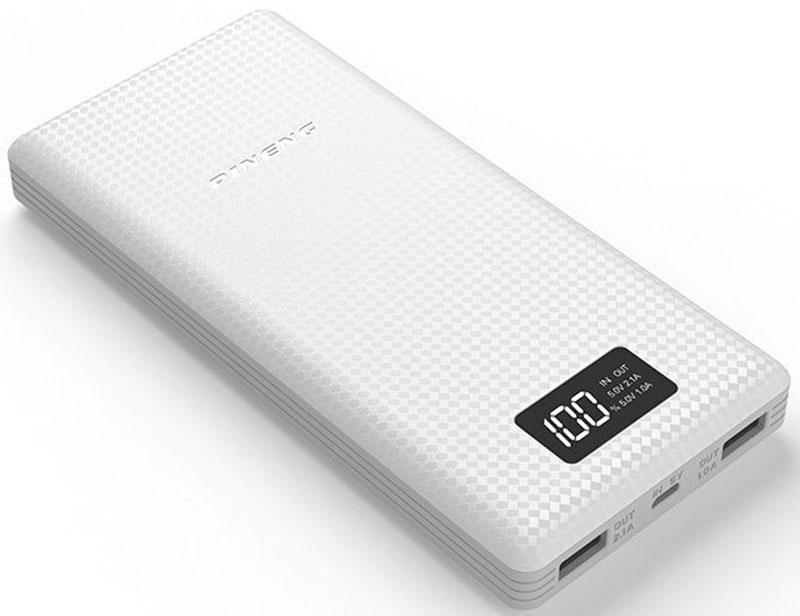 Pineng PN-969, White внешний аккумулятор (20000 мАч)PN-969WHPineng PN-969 идеален для краткосрочных поездок и путешествий. Упакован в прочный, но легкий корпус из ударопрочного пластика в новом дизайне. Поверхность корпуса выполнена в виде пиксельного узора разной степени гладкости, что придает внешнему аккумулятору легкое ощущение прохлады в руке и позволяет прочно его удерживать - очередное приятное ноу-хау от производителя. Pineng имеет 2 отдельных USB выхода: 5В/1А - для смартфонов и телефонов и 5В/2.1А для планшетов. Оба выхода работают одновременно. Для контроля остатка заряда предусмотрен фирменный запатентованный жидко-кристаллический дисплей (монохромный), отображающий остаток заряда в процентах.Pineng PN-969 на 100% совместим со всеми современными телефонами и планшетами (Apple, Samsung, HTC, Huawei, Nokia, LG, SONY, ACER, ASUS, Lenovo, Xiaomi, Meizu, Fly и многими другими), а также поддерживает все электронные устройства с питаем от 5 вольт: фото- и видеокамеры, GoPro, фитнес трекеры, портативные колонки, GPS навигаторы, радиопередатчики, аудио плееры и множество других.