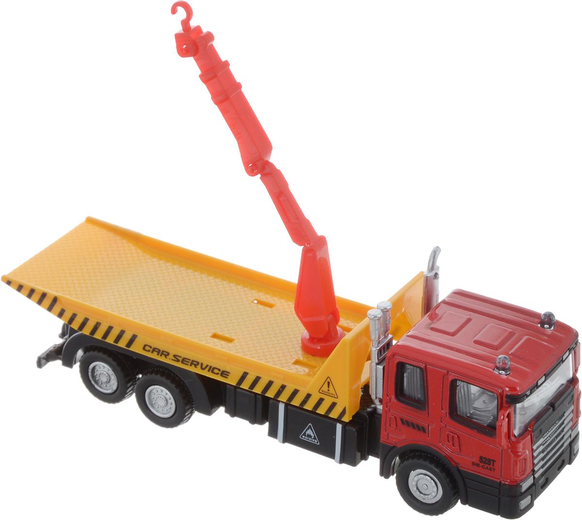 Autotime Машинка с манипулятором Flatbed Crane Truck красная кабинка autotime набор машинок recovery truck long эвакуатор с прицепом