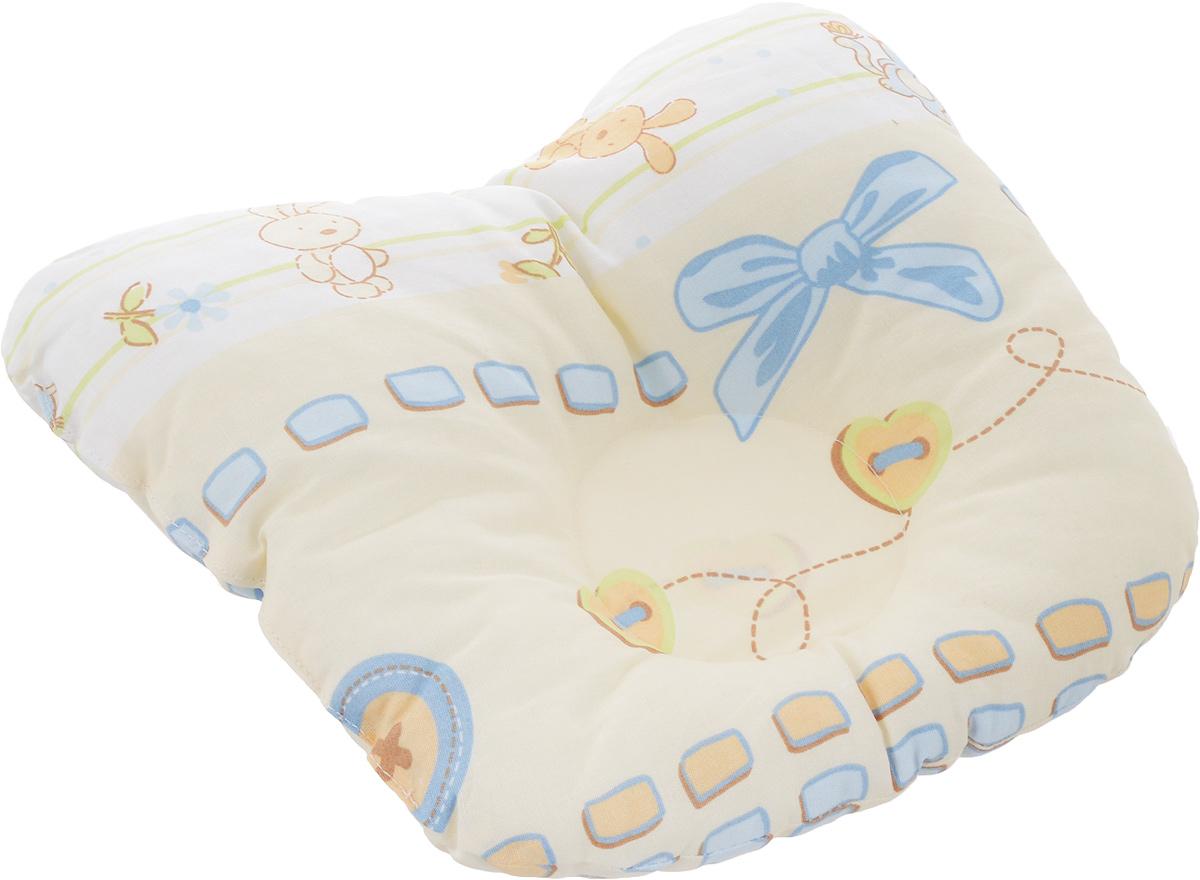 Сонный гномик Подушка анатомическая для младенцев цвет желтый голубой 27 х 27 см555А_желтый, голубой бантикАнатомическая подушка для младенцев Сонный гномик компактна и удобнадля пеленания малыша и кормления на руках, она также незаменима для сна ребенка в кроватке и комфортна для использования в коляске напрогулке. Углубление в подушке фиксирует правильное положение головы ребенка.Подушка помогает правильному формированию шейногоотдела позвоночника.