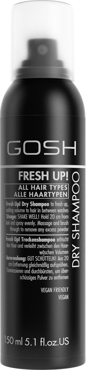 Gosh Сухой шампунь для волос Fresh Up! для объема, 150 мл804606GOSH Линия для стайлинга и ухода за волосами - высокоэффективный специализированный уход для красоты и здоровья волос. В ассортименте представлены средства, обеспечивающие оптимальный уход для каждого типа волос – для нормальных, тонких, окрашенных или поврежденных волос. Деликатный состав подходит для ежедневного применения,восстанавливает секущиеся кончики, омолаживает, питает и увлажняет волосы и кожу головы. Сохраняет волосы и кожу головы в здоровом балансе. Все шампуни и кондиционеры содержат активные и питательные ингредиенты,не содержат парабенов. (1011510003;S;N;EU/US) GOSH Сухой шампунь для волос Fresh Up! для объема, 150 мл. Очищающее средство для волос. Волшебная пудра устраняет излишнюю жирность и загрязнения от корней до кончиков волос. Идеально подходит для жирных волос и кожи головы.Сухой шампунь: всё, что нужно знать. Статья OZON Гид