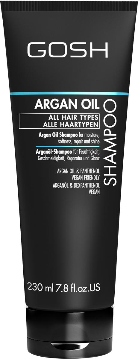 Gosh Шампунь для волос c аргановым маслом Argan Oil, 230 мл851466GOSH Линия для стайлинга и ухода за волосами - высокоэффективный специализированный уход для красоты и здоровья волос. В ассортименте представлены средства, обеспечивающие оптимальный уход для каждого типа волос – для нормальных, тонких, окрашенных или поврежденных волос. Деликатный состав подходит для ежедневного применения,восстанавливает секущиеся кончики, омолаживает, питает и увлажняет волосы и кожу головы. Сохраняет волосы и кожу головы в здоровом балансе. Все шампуни и кондиционеры содержат активные и питательные ингредиенты,не содержат парабенов. (1011510011;S;Argan;INT) GOSH Шампунь для волос c аргановым маслом Argan Oil, 230 мл. Очищающее средство для волос. Идеально подходит для питания, увлажнения и восстановления волос.