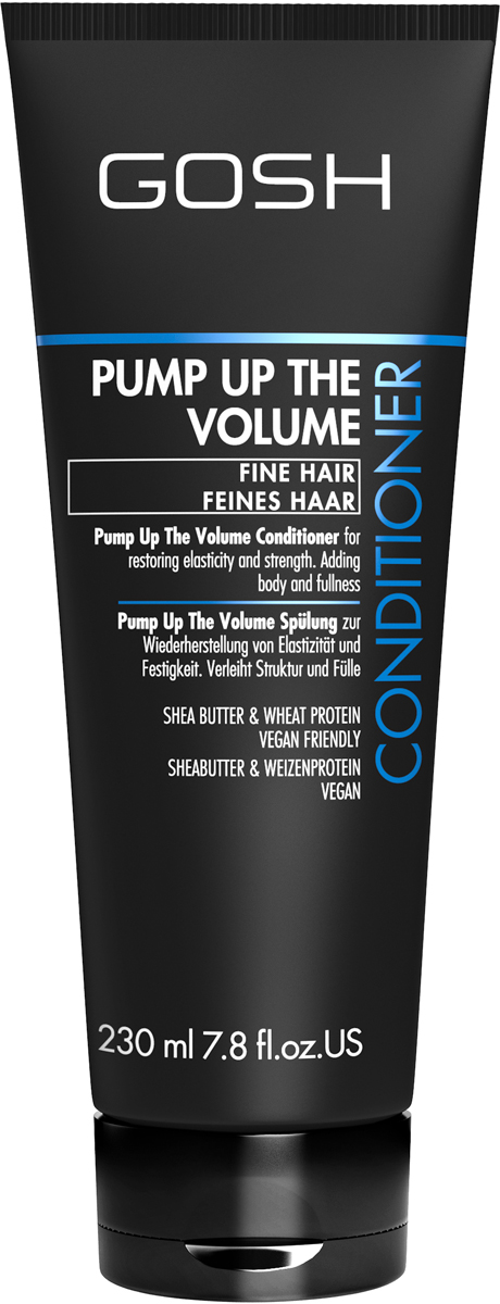 Gosh Кондиционер для объема волос Pump Up The Volume, 230 мл4-002922GOSH Линия для стайлинга и ухода за волосами - высокоэффективный специализированный уход для красоты и здоровья волос. В ассортименте представлены средства, обеспечивающие оптимальный уход для каждого типа волос – для нормальных, тонких, окрашенных или поврежденных волос. Деликатный состав подходит для ежедневного применения,восстанавливает секущиеся кончики, омолаживает, питает и увлажняет волосы и кожу головы. Сохраняет волосы и кожу головы в здоровом балансе. Все шампуни и кондиционеры содержат активные и питательные ингредиенты,не содержат парабенов.(1011520008;S;Volume;INT) GOSH Кондиционер для объема волос Pump Up The Volume, 230 мл. Средство предназначено для ухода за всеми типами волос.