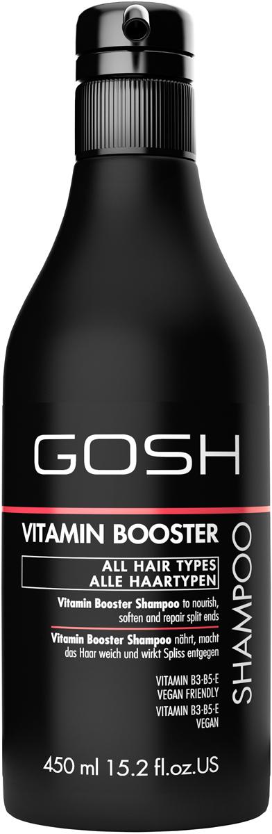 Gosh Шампунь для волос Vitamin Booster, 450 мл851477GOSH Линия для стайлинга и ухода за волосами - высокоэффективный специализированный уход для красоты и здоровья волос. В ассортименте представлены средства, обеспечивающие оптимальный уход для каждого типа волос – для нормальных, тонких, окрашенных или поврежденных волос. Деликатный состав подходит для ежедневного применения,восстанавливает секущиеся кончики, омолаживает, питает и увлажняет волосы и кожу головы. Сохраняет волосы и кожу головы в здоровом балансе. Все шампуни и кондиционеры содержат активные и питательные ингредиенты,не содержат парабенов. (1011510010;S;Vb;INT) GOSH Шампунь для волос Vitamin Booster, 450 мл. Очищающее средство для волос. Восстанавливает секущиеся кончики, увлажняет и обеспечивает волосам термозащиту.