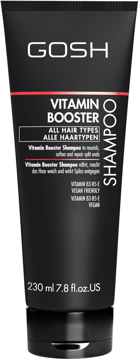 Gosh Шампунь для волос Vitamin Booster, 230 мл851479GOSH Линия для стайлинга и ухода за волосами - высокоэффективный специализированный уход для красоты и здоровья волос. В ассортименте представлены средства, обеспечивающие оптимальный уход для каждого типа волос – для нормальных, тонких, окрашенных или поврежденных волос. Деликатный состав подходит для ежедневного применения,восстанавливает секущиеся кончики, омолаживает, питает и увлажняет волосы и кожу головы. Сохраняет волосы и кожу головы в здоровом балансе. Все шампуни и кондиционеры содержат активные и питательные ингредиенты,не содержат парабенов. (1011510011;S;Vb;INT) GOSH Шампунь для волос Vitamin Booster, 230 мл. Очищающее средство для волос. Восстанавливает секущиеся кончики, увлажняет и обеспечивает волосам термозащиту.