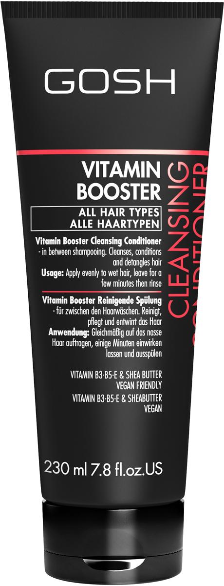 Gosh Кондиционер очищающий для волос Vitamin Booster, 230 мл851482GOSH Линия для стайлинга и ухода за волосами - высокоэффективный специализированный уход для красоты и здоровья волос. В ассортименте представлены средства, обеспечивающие оптимальный уход для каждого типа волос – для нормальных, тонких, окрашенных или поврежденных волос. Деликатный состав подходит для ежедневного применения,восстанавливает секущиеся кончики, омолаживает, питает и увлажняет волосы и кожу головы. Сохраняет волосы и кожу головы в здоровом балансе. Все шампуни и кондиционеры содержат активные и питательные ингредиенты,не содержат парабенов. (1011520010;S;Vb;INT) GOSH Кондиционер очищающий для волос Vitamin Booster, 230 мл. Очищающее средство для волос. Использовать при необходимости вместо шампуня в промежутках между помывками головы для придания свежести волосам.