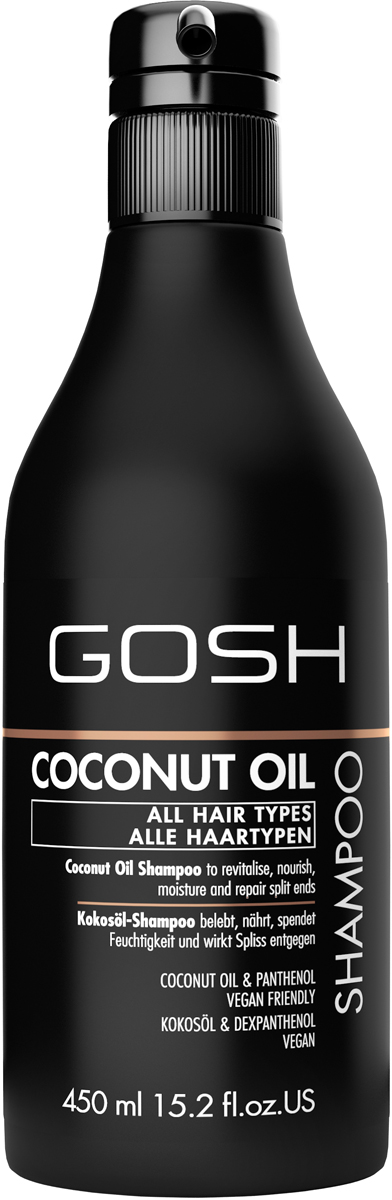 Gosh Шампунь для волос с кокосовым маслом Coconut Oil, 450 мл851489GOSH Линия для стайлинга и ухода за волосами - высокоэффективный специализированный уход для красоты и здоровья волос. В ассортименте представлены средства, обеспечивающие оптимальный уход для каждого типа волос – для нормальных, тонких, окрашенных или поврежденных волос. Деликатный состав подходит для ежедневного применения,восстанавливает секущиеся кончики, омолаживает, питает и увлажняет волосы и кожу головы. Сохраняет волосы и кожу головы в здоровом балансе. Все шампуни и кондиционеры содержат активные и питательные ингредиенты,не содержат парабенов. (1011510010;S;Coconut;INT) GOSH Шампунь для волос с кокосовым маслом Coconut Oil, 450 мл. Очищающее средство для волос. Восстанавливает секущиеся кончики, омолаживает, питает и увлажняет волосы и кожу головы.
