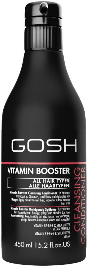 Gosh Кондиционер очищающий для волос Vitamin Booster, 450 мл851481GOSH Линия для стайлинга и ухода за волосами - высокоэффективный специализированный уход для красоты и здоровья волос. В ассортименте представлены средства, обеспечивающие оптимальный уход для каждого типа волос – для нормальных, тонких, окрашенных или поврежденных волос. Деликатный состав подходит для ежедневного применения,восстанавливает секущиеся кончики, омолаживает, питает и увлажняет волосы и кожу головы. Сохраняет волосы и кожу головы в здоровом балансе. Все шампуни и кондиционеры содержат активные и питательные ингредиенты,не содержат парабенов. (1011520011;S;Vb;INT) GOSH Кондиционер очищающий для волос Vitamin Booster, 450 мл. Очищающее средство для волос. Использовать при необходимости вместо шампуня в промежутках между помывками головы для придания свежести волосам.