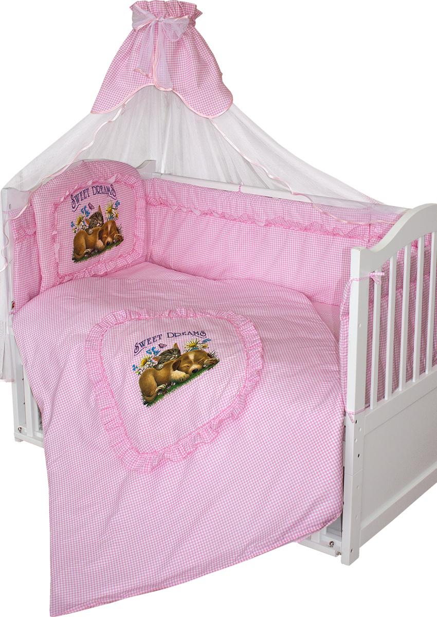 Золотой Гусь Комплект в кроватку Аленка 7 предметов цвет розовый 60 x 120 см1016/7Классический комплект в кроватку с печатным рисунком на изголовье бампера и пододеяльнике. В комплект входит: Балдахин-сетка, одеяло, подушка, простыня, пододеяльник, наволочка, бампер.