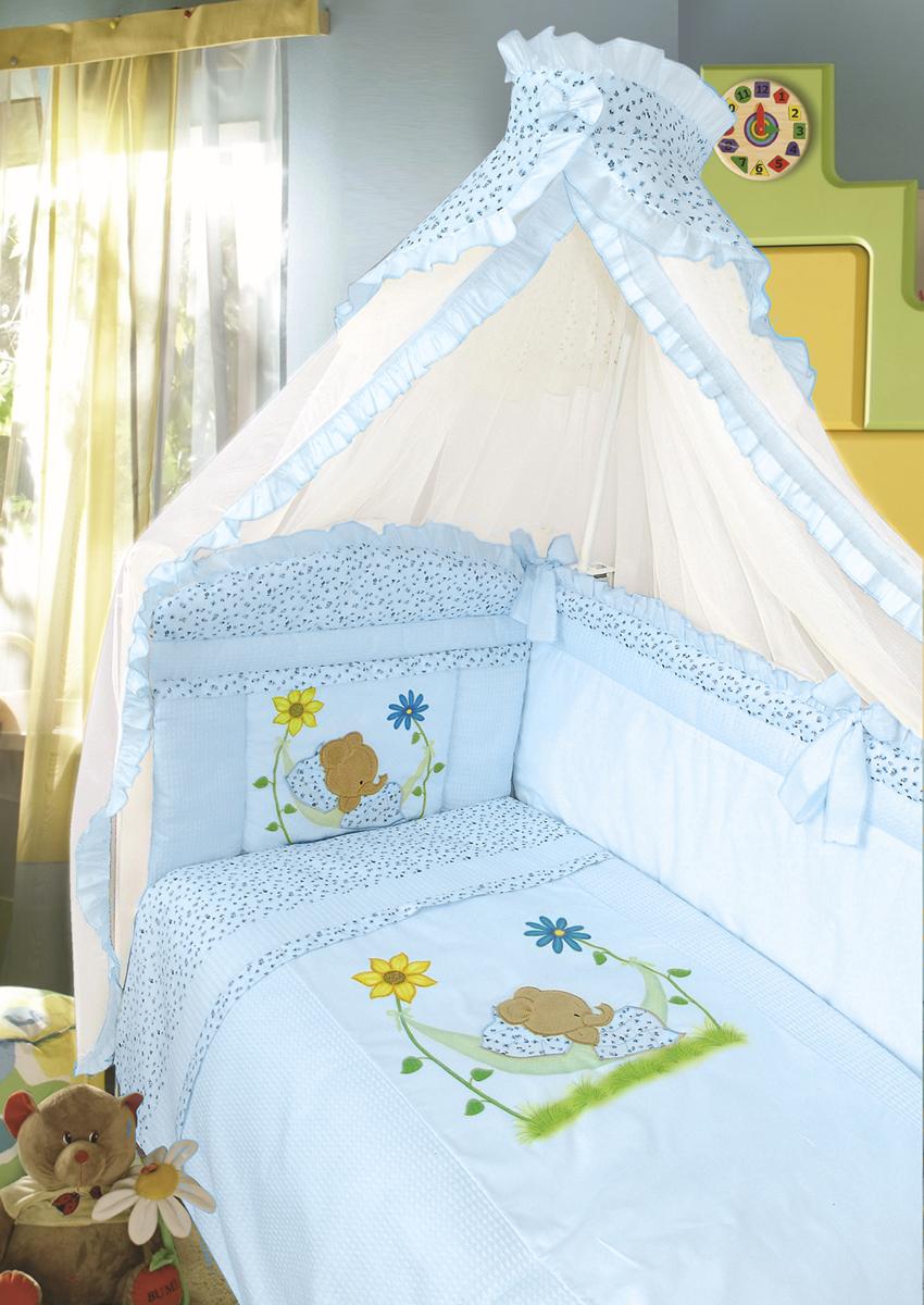 Золотой Гусь Комплект в кроватку Сладкий сон 7 предметов цвет голубой 60 x 120 см1092Комплект в кроватку с печатным рисунком . В комплект входит: Балдахин-сетка, одеяло, подушка, простыня, пододеяльник, наволочка, бампер.