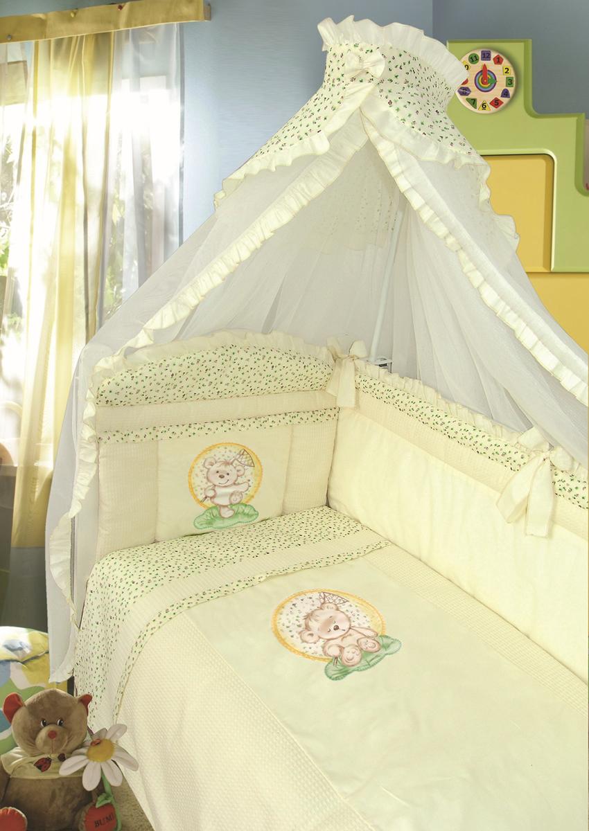 Золотой Гусь Комплект в кроватку Сладкий сон 7 предметов цвет бежевый 60 x 120 см1093Комплект в кроватку с печатным рисунком . В комплект входит: Балдахин-сетка, одеяло, подушка, простыня, пододеяльник, наволочка, бампер.