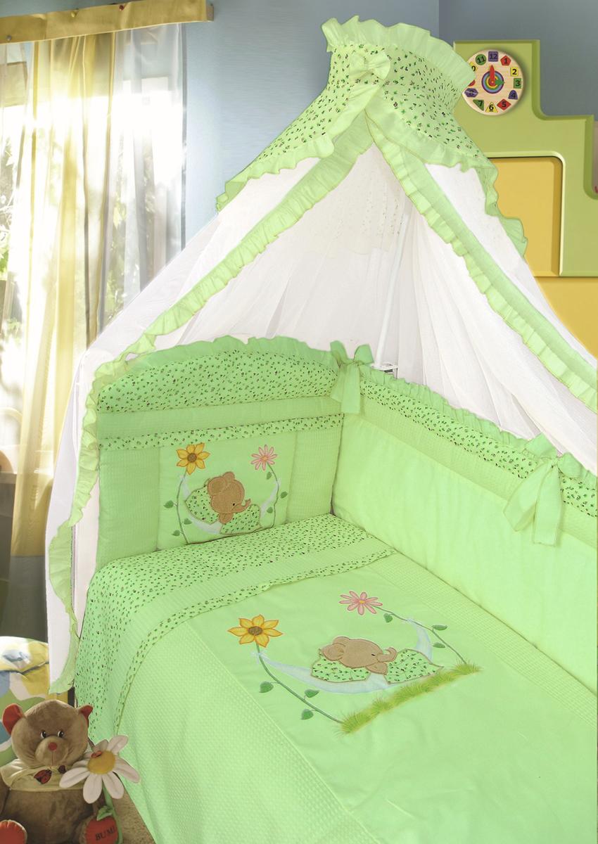 Золотой Гусь Комплект в кроватку Сладкий сон 7 предметов цвет зеленый 60 x 120 см437679Комплект в кроватку с печатным рисунком . В комплект входит: Балдахин-сетка, одеяло, подушка, простыня, пододеяльник, наволочка, бампер.