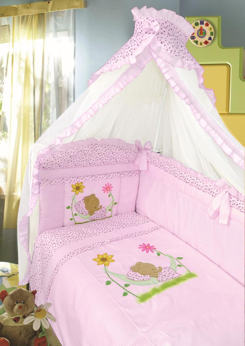 Золотой Гусь Комплект в кроватку Сладкий сон 7 предметов цвет розовый 60 x 120 см1096Комплект в кроватку с печатным рисунком . В комплект входит: Балдахин-сетка, одеяло, подушка, простыня, пододеяльник, наволочка, бампер.