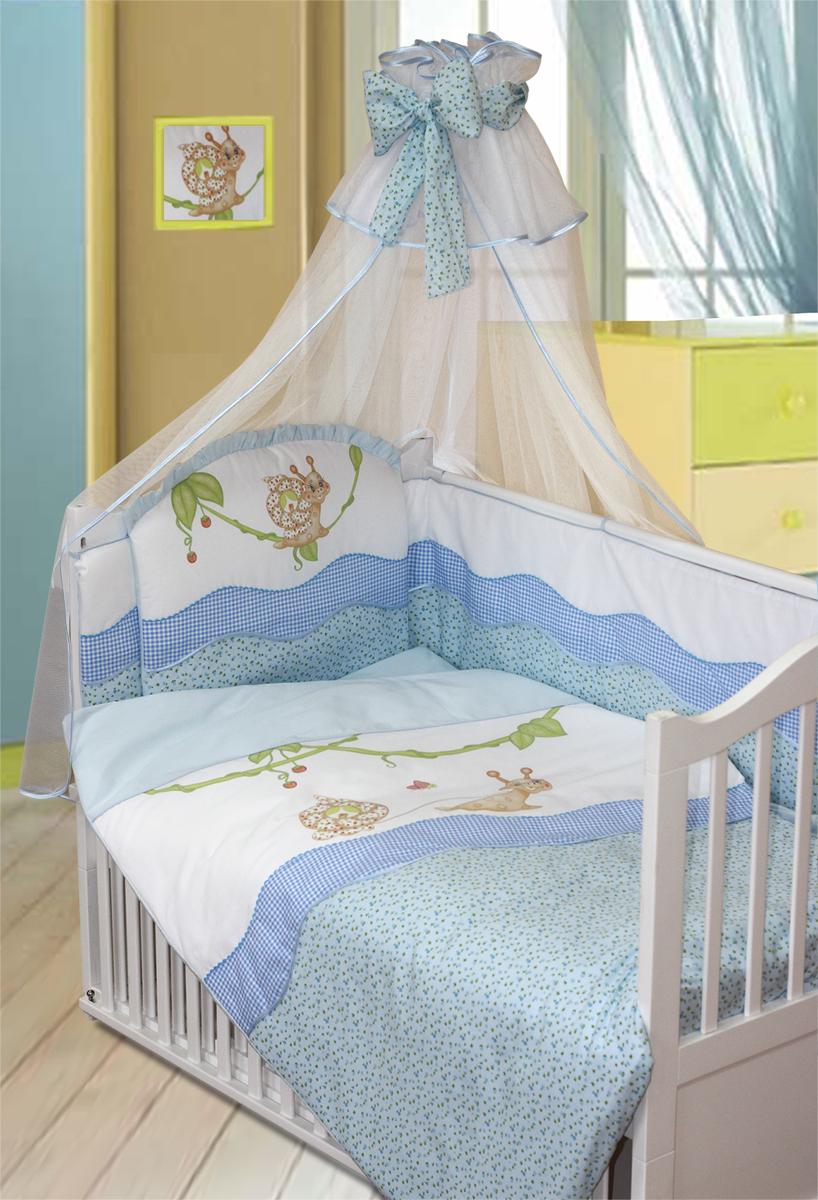 Золотой Гусь Комплект в кроватку Улыбка 7 предметов цвет голубой 60 x 120 см1592Комплект в кроватку с печатным рисунком. В комплект входит: Балдахин-сетка, бампер на молнии, одеяло, пододеяльник, наволочка, подушка, простыня на резинке