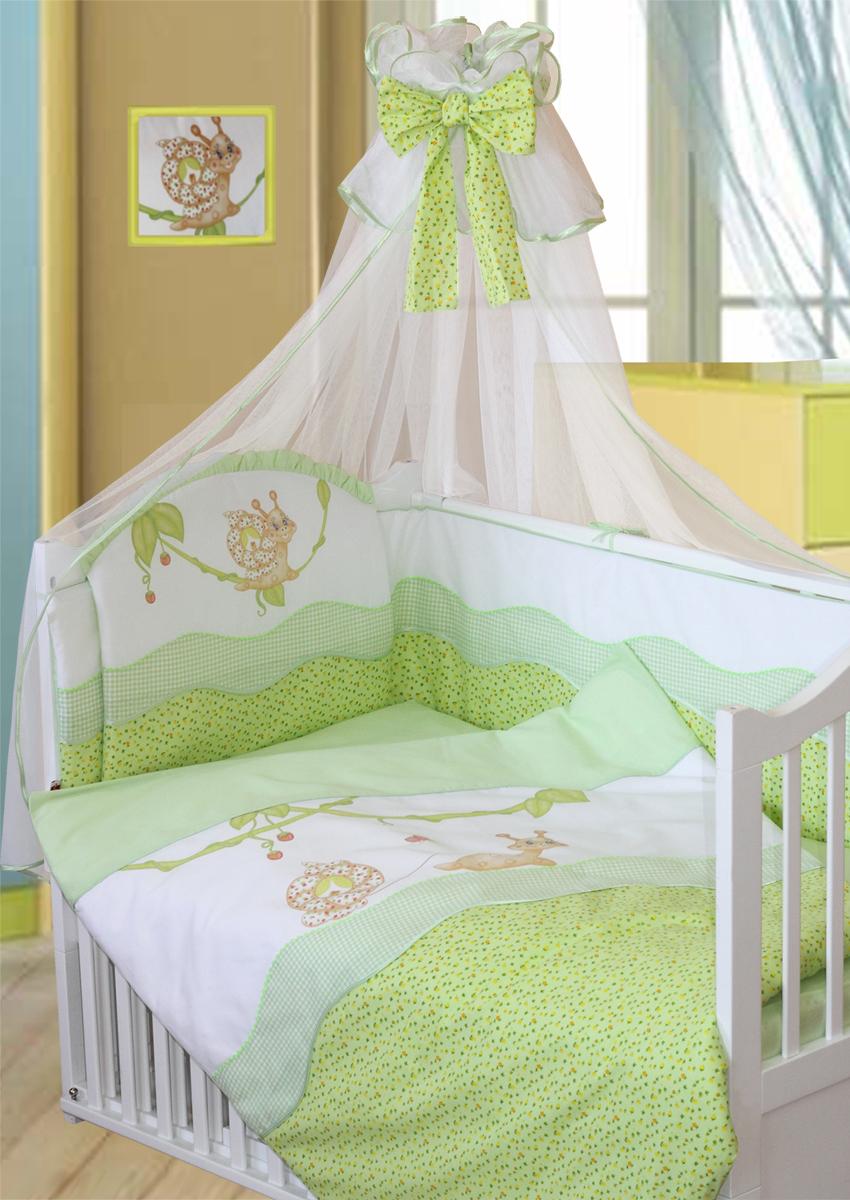 Золотой Гусь Комплект в кроватку Улыбка 7 предметов цвет зеленый 60 x 120 см1594Комплект в кроватку с печатным рисунком. В комплект входит: Балдахин-сетка, бампер на молнии, одеяло, пододеяльник, наволочка, подушка, простыня на резинке