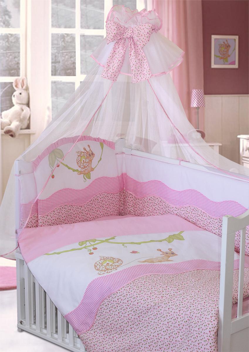 Золотой Гусь Комплект в кроватку Улыбка 7 предметов цвет розовый 60 x 120 см1596Комплект в кроватку с печатным рисунком. В комплект входит: Балдахин-сетка, бампер на молнии, одеяло, пододеяльник, наволочка, подушка, простыня на резинке