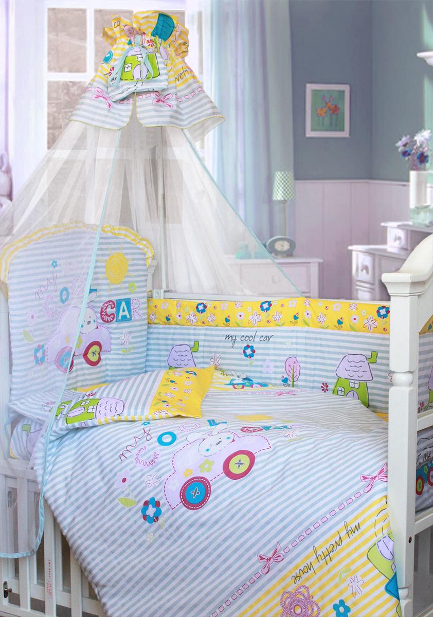 Золотой Гусь Комплект в кроватку Cool Car 7 предметов цвет голубой 60 x 120 см1242Комплект в кроватку с забавным печатным рисунком. В комплект входит: Балдахин -сетка, одеяло, подушка, простыня на резинке, пододеяльник, наволочка, бампер