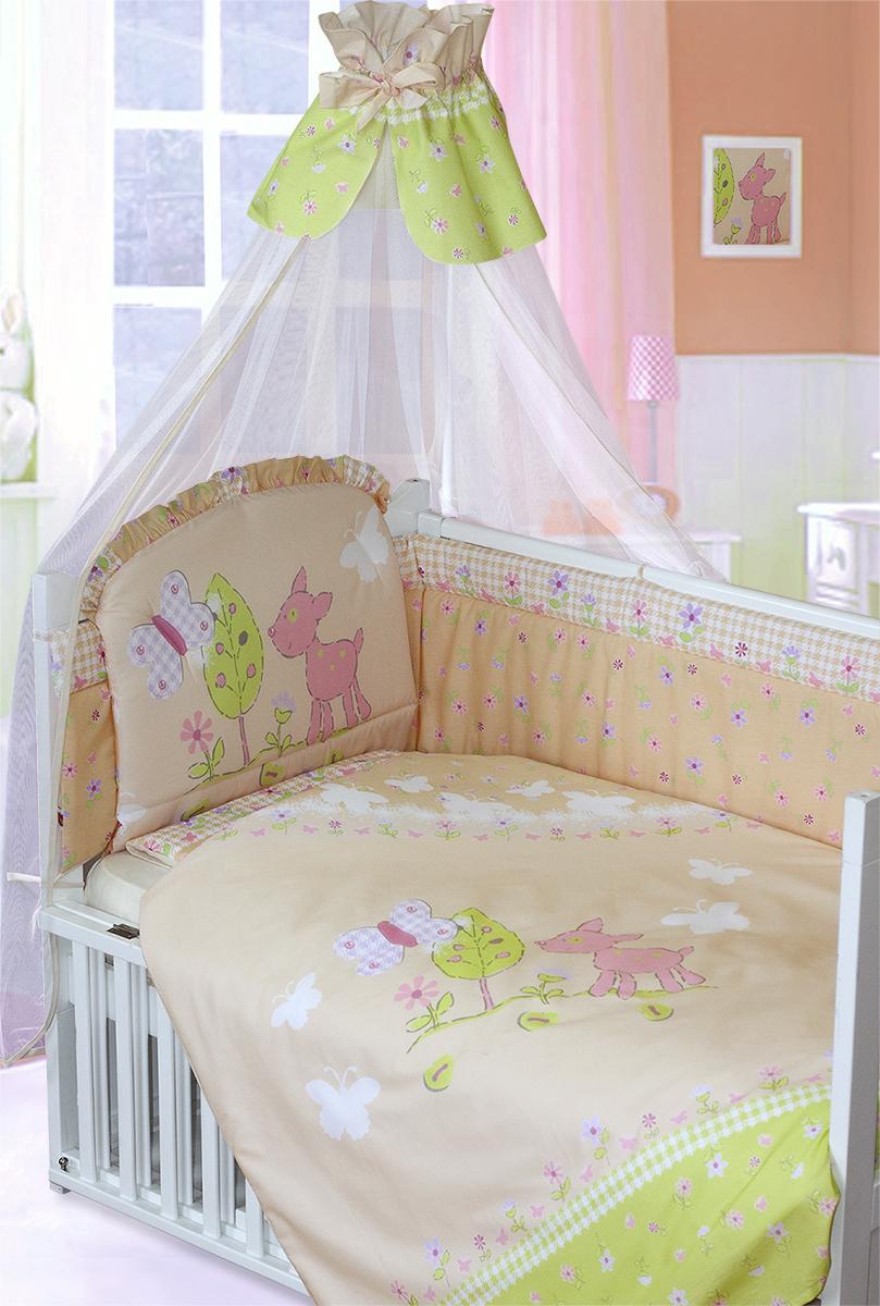 Золотой Гусь Комплект в кроватку Little Friend 7 предметов цвет бежевый 60 x 120 см1263Комплект в кроватку с печатным рисунком. В комплект входит: Балдахин -сетка, одеяло, подушка, простыня на резинке, пододеяльник, наволочка, бампер